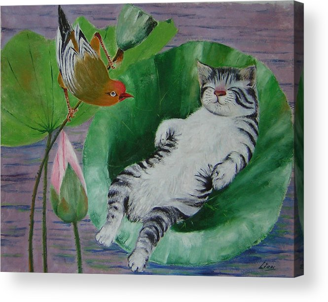 Fantasy Acrylic Print featuring the painting Sleeping Kitten by Lian Zhen
