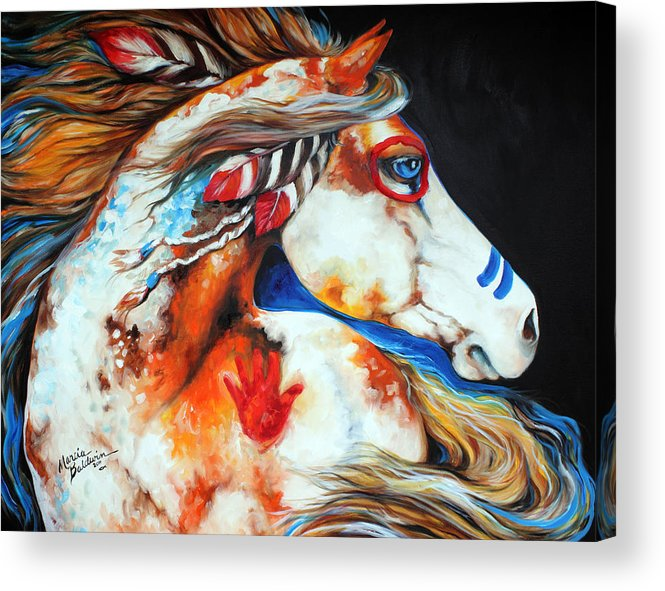 Indian Acrylic Print featuring the painting Spirit Indian War Horse by Marcia Baldwin