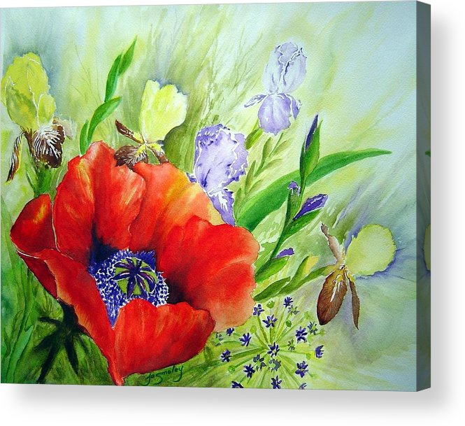 Poppy Iris Floral Painting Acrylic Print featuring the painting Spring Splendor by Joanne Smoley
