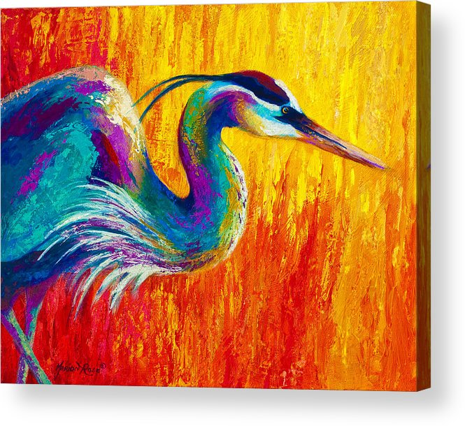Heron Acrylic Print featuring the painting Stalking The Marsh - Great Blue Heron by Marion Rose