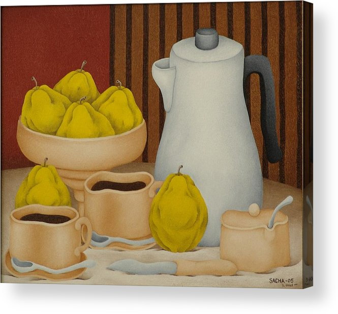 Sacha Circulism Circulismo Toothpick Paintings Acrylic Print featuring the painting Still Life with Coffee Pot 2005 by S A C H A - Circulism Technique