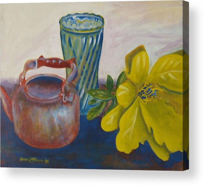 Still Life Arrangement Sold Acrylic Print featuring the painting Still Life With Plastic Flower by Howard Stroman