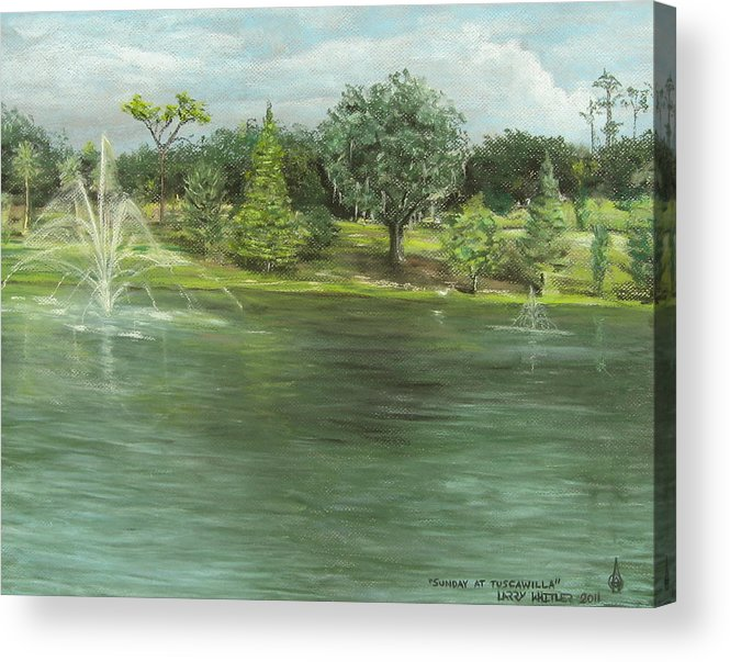 Landscape Acrylic Print featuring the pastel Sunday At Tuscawilla by Larry Whitler