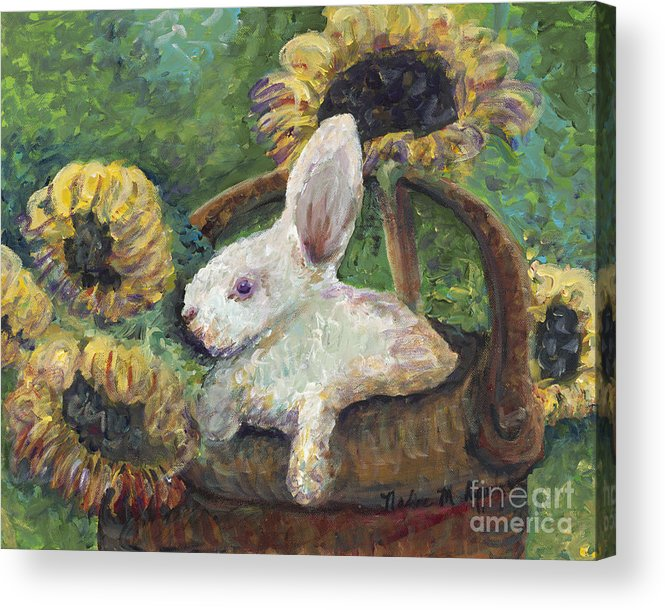 Sunflowers Acrylic Print featuring the painting Sunflower Basket Surprise by Nadine Rippelmeyer