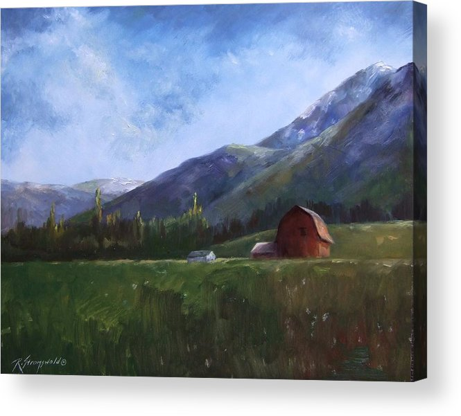 Barn Acrylic Print featuring the painting Sunlit Barn by Ruth Stromswold