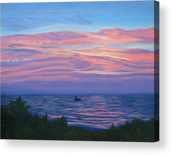 Seascape Acrylic Print featuring the painting Sunset Bay by Lea Novak