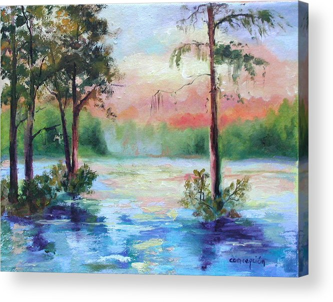 Sunset Acrylic Print featuring the painting Sunset Bayou by Ginger Concepcion