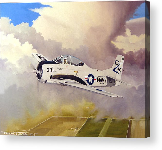 Military Acrylic Print featuring the painting T-28 Over Iowa by Marc Stewart