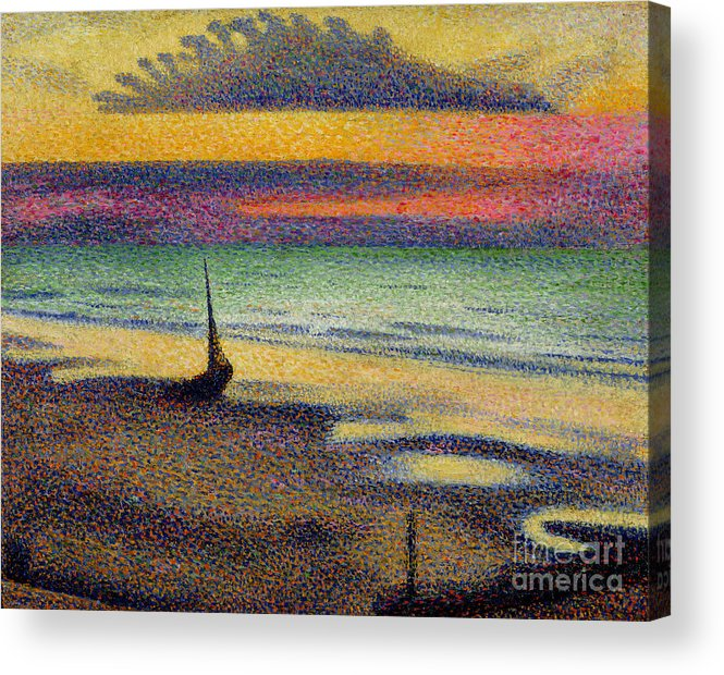 The Acrylic Print featuring the painting The Beach at Heist by Georges Lemmen