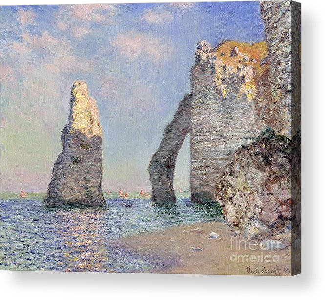 The Cliffs At Etretat Acrylic Print featuring the painting The Cliffs at Etretat by Claude Monet