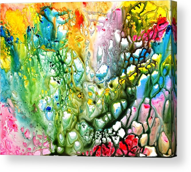 Yupo Acrylic Print featuring the painting The coral abstract painting by Manjiri Kanvinde