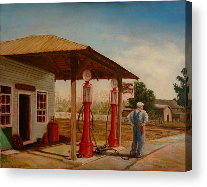 Gasoline Acrylic Print featuring the painting The Gas Caper by Lance Anderson