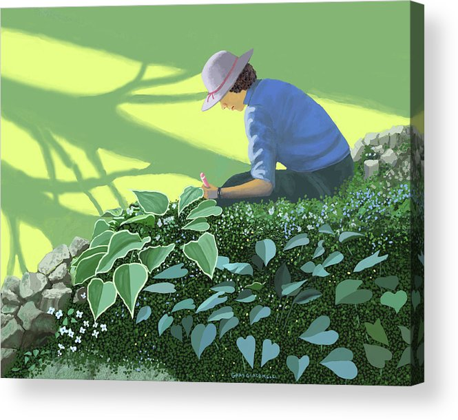 Garden Gardening Shade Sun Sunlight Tree Trees Planting Bulbs Seeds Growing Growth Cultivation Cultivate Spring Springtime Sunshine Sun Gardener Acrylic Print featuring the painting The solace of the shade garden by Gary Giacomelli