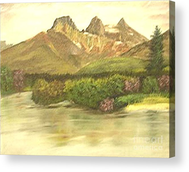 Lanscape Acrylic Print featuring the painting The Three Sisters by Nicholas Minniti