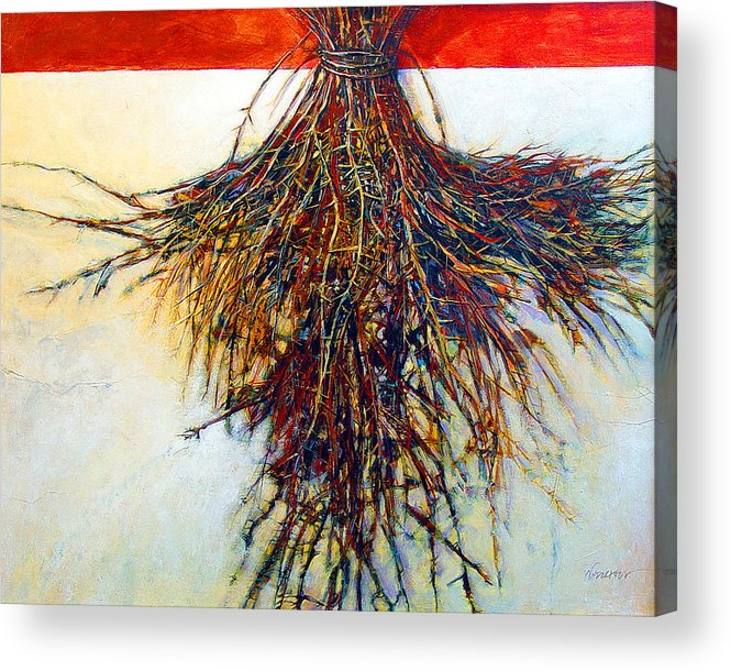 Tree Acrylic Print featuring the painting Thorn Zia by Dale Witherow