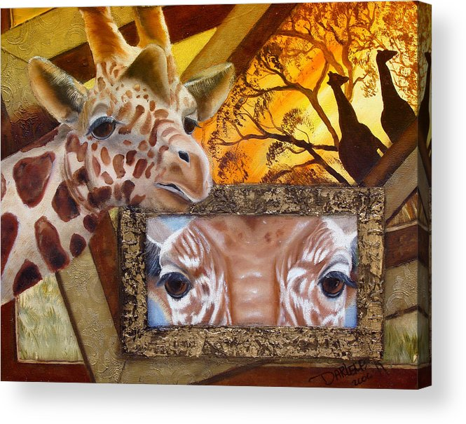 Giraffe Acrylic Print featuring the painting Those Eyes   Giraffe Safari Series No 3 by Darlene Green