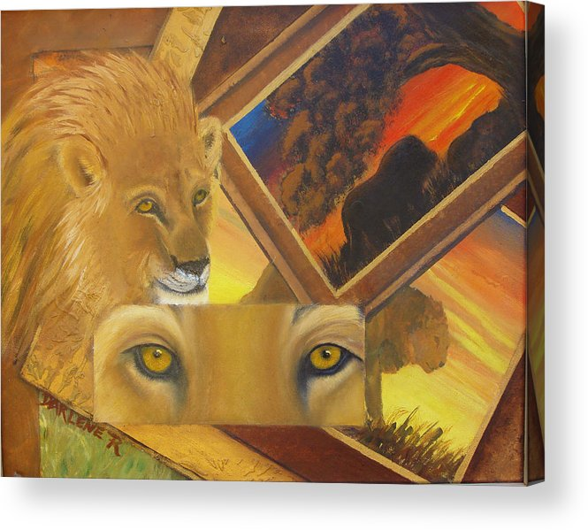 Lion Acrylic Print featuring the painting Those Eyes Lion by Darlene Green