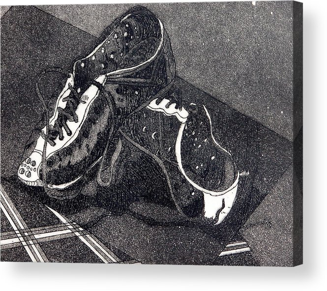 Etching Acrylic Print featuring the drawing Thousand Mile Bicycle Shoes by Jan Bennicoff