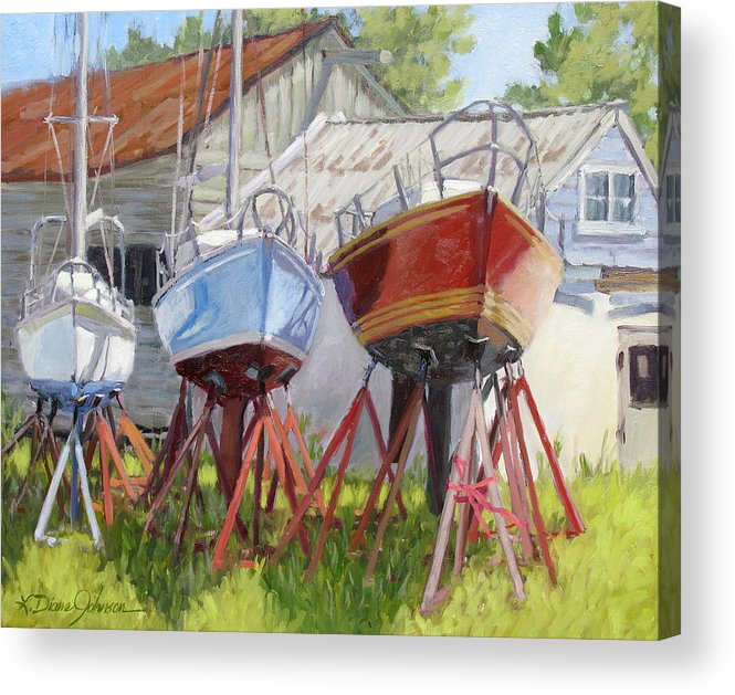 Sail Boats Acrylic Print featuring the painting Three Up by L Diane Johnson