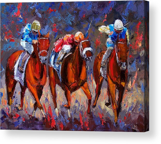 Horse Race Acrylic Print featuring the painting Thunder by Debra Hurd