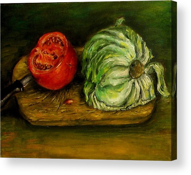 Tomatoes Acrylic Print featuring the painting Tomato and cabbage oil painting canvas by Natalja Picugina