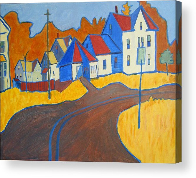 Buildings Acrylic Print featuring the painting Town Center Plaistow NH by Debra Bretton Robinson