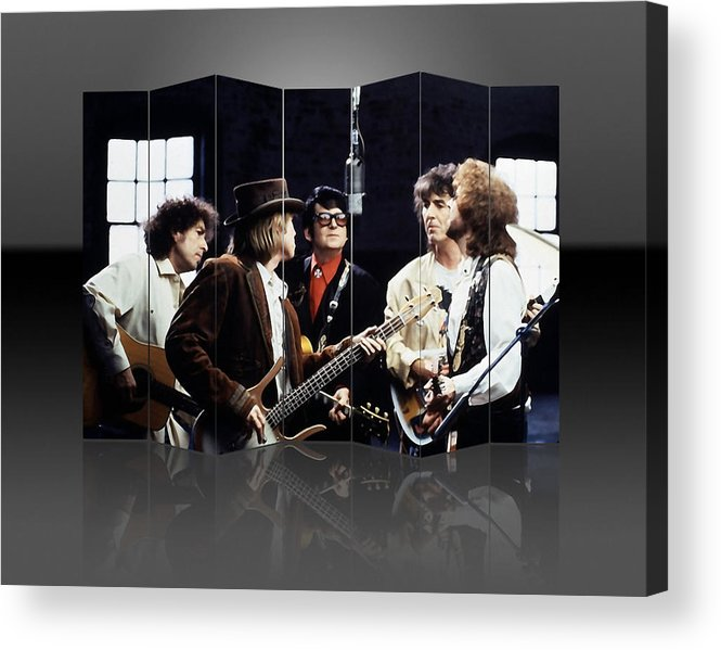 Traveling Wilburys Acrylic Print featuring the mixed media Traveling Wilburys Art by Marvin Blaine