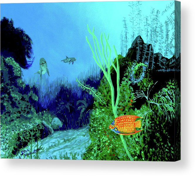 Wildlife Acrylic Print featuring the painting Underwater by Stan Hamilton