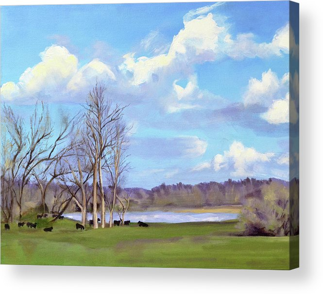 Cows Acrylic Print featuring the painting Watering Hole with Cows by Mary Chant
