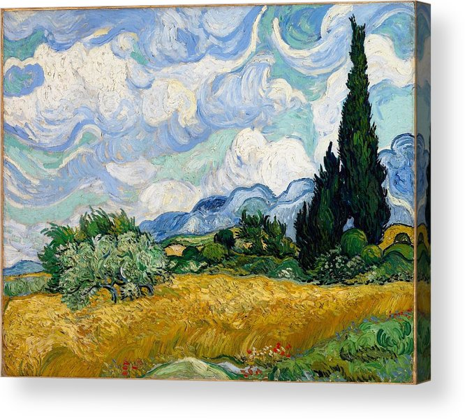 Vincent Van Gogh Acrylic Print featuring the painting Wheatfield With Cypresses by Van Gogh