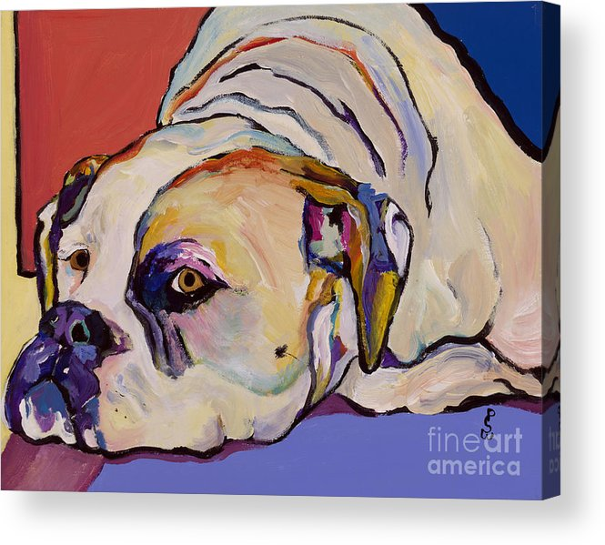 American Bulldog Acrylic Print featuring the painting Where Is My Dinner by Pat Saunders-White