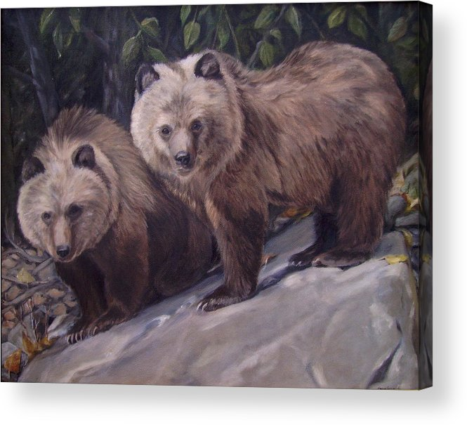 Grizzly Cubs Acrylic Print featuring the painting Where s Momma by Tahirih Goffic