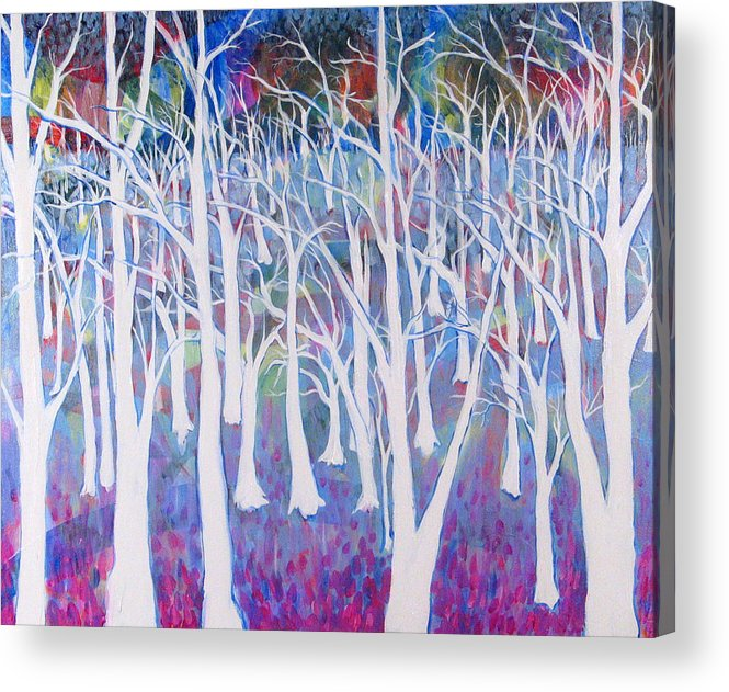 White Acrylic Print featuring the painting White Forest by Rollin Kocsis
