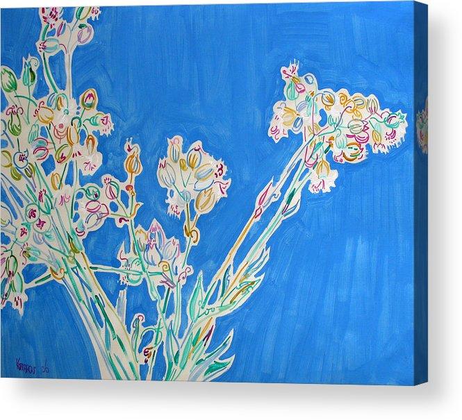 Wild Acrylic Print featuring the painting Wild Flowers on Blue by Vitali Komarov