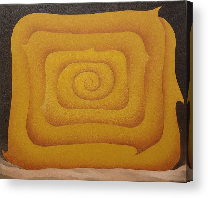 Sacha Circulism Circulismo Toothpick Painting Acrylic Print featuring the painting Woman in Yellow 2008 by S A C H A - Circulism Technique