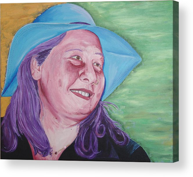 Portrait Acrylic Print featuring the painting Yellow Blue Green Christine by Kevin Callahan