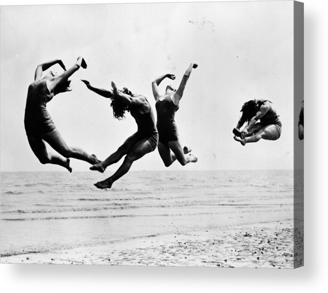 1930-1939 Acrylic Print featuring the photograph Beach Exercise by Reg Speller