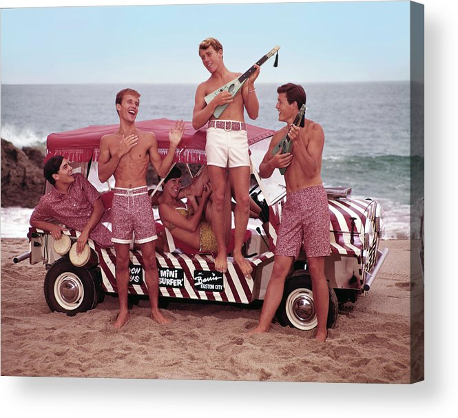 Child Acrylic Print featuring the photograph Guys And Gals On The Beach by Tom Kelley Archive