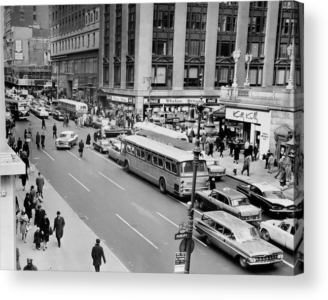 Pedestrian Acrylic Print featuring the photograph General View Of Pedestrians Crossing by New York Daily News Archive