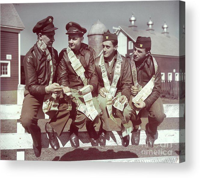 Young Men Acrylic Print featuring the photograph Air Force Gunners Comparing Short by Bettmann