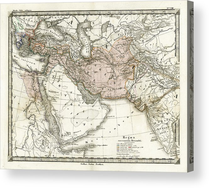 Arabia Acrylic Print featuring the digital art Antique Map Of Alexander The Greats by Duncan1890