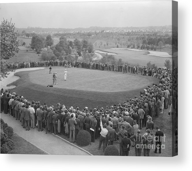 People Acrylic Print featuring the photograph Ben Hogan Putting As Others Watch by Bettmann