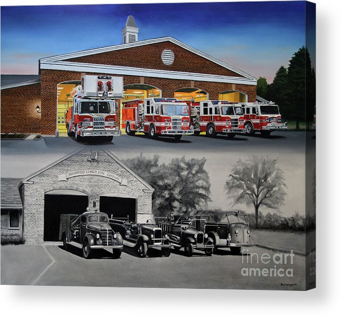 Fire House Acrylic Print featuring the painting Bloomfield Fire Department by Paul Walsh