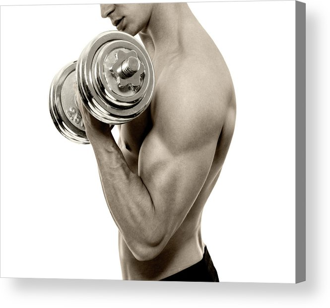 Young Men Acrylic Print featuring the photograph Body Builder Exercising by Gilaxia
