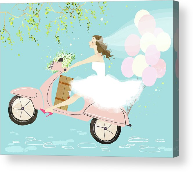 People Acrylic Print featuring the digital art Bride On Scooter by Eastnine Inc.