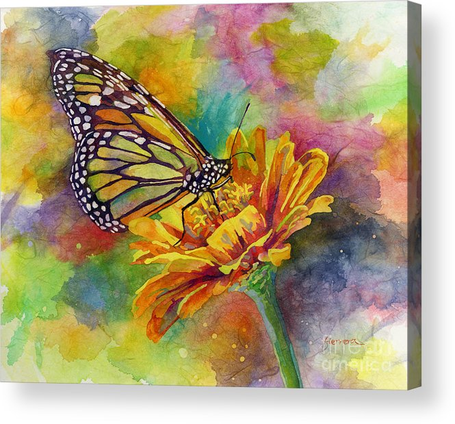 Butterfly Acrylic Print featuring the painting Butterfly Kiss by Hailey E Herrera