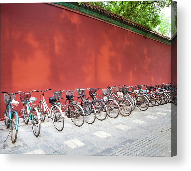 Shadow Acrylic Print featuring the photograph Chinese Bikes by Sam Diephuis