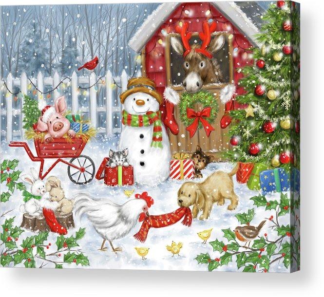 Christmas Farm Animals Acrylic Print featuring the mixed media Christmas Farm Animals by Makiko
