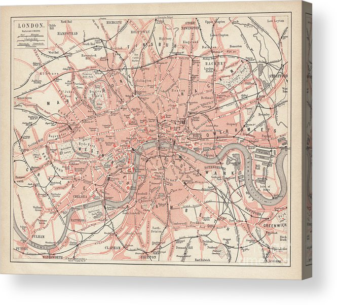 Downtown District Acrylic Print featuring the digital art City Map Of London, Lithograph by Zu 09
