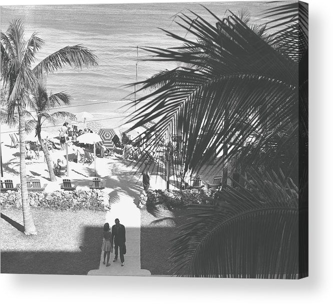 Heterosexual Couple Acrylic Print featuring the photograph Couple Walking In Path Towards Beach by George Marks